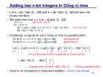 adding two n bit integers in o log n time