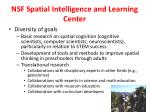nsf spatial intelligence and learning center