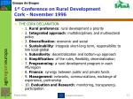 1 st conference on rural development cork november 1996