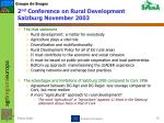 2 nd conference on rural development salzburg november 2003