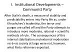 i institutional developments communist party