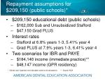 repayment assumptions for 209 150 public schools