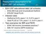 repayment assumptions for 241 097 all schools