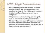 nwp subgrid parameterizations