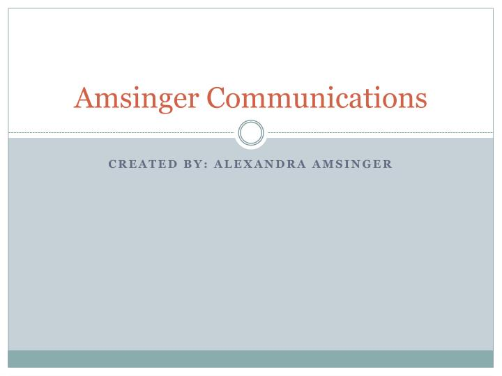 amsinger communications n.
