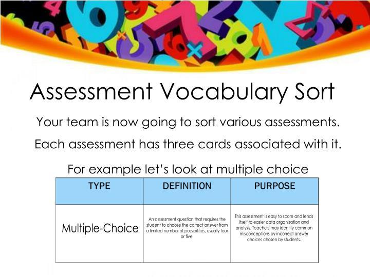 Assessment Vocabulary Sort
