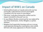 impact of ww1 on canada