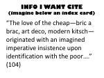 info i want cite imagine below an index card
