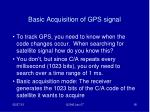 basic acquisition of gps signal