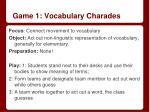 game 1 vocabulary charades