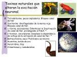 toxinas naturales que alteran la excitaci n neuronal