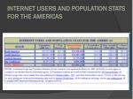 internet users and population stats for the americas