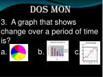 dos mon 3 a graph that shows change over a period of time is a b c