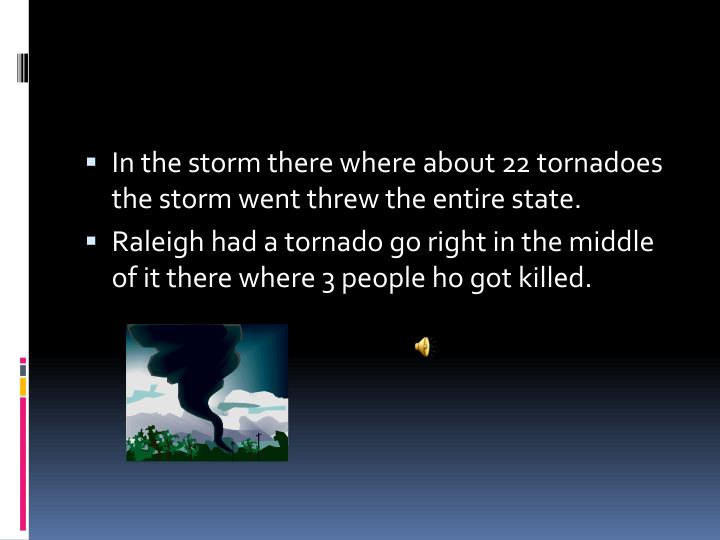 In the storm there where about 22 tornadoes the storm went threw the entire state.