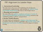 fip alignment to leader keys