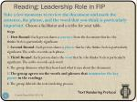 reading leadership role in fip