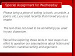 special assignment for wednesday