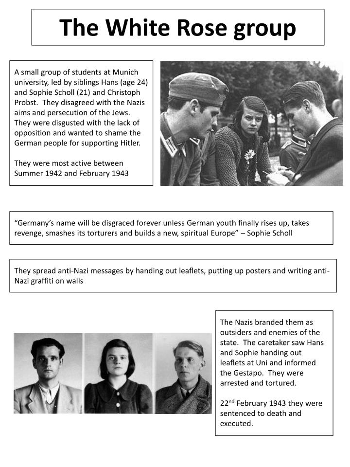 white rose youth opposition Sophie scholl, hans scholl, and the white rose movement stood up to the evils of the nazis though they died for their beliefs, their message lived on.