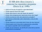 el sib debe direccionarse a contestar las siguientes preguntas davis et al 1990