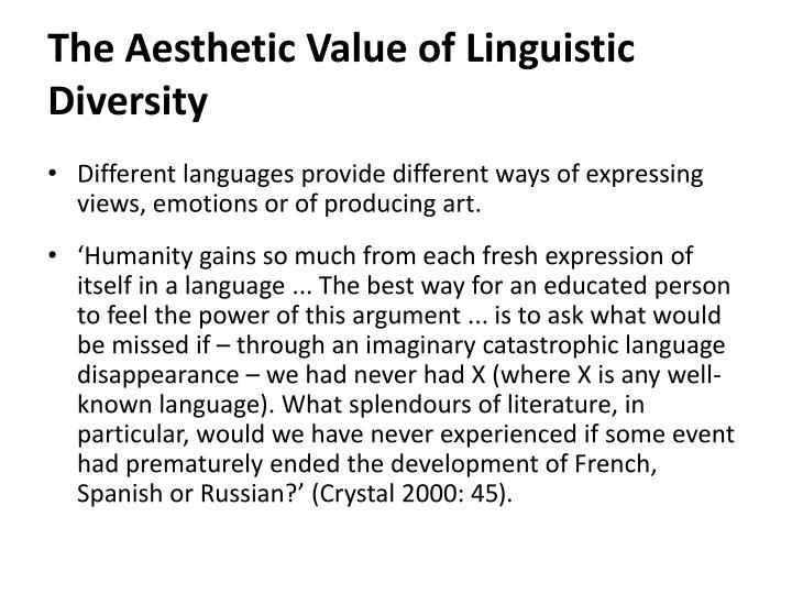 The Aesthetic Value of Linguistic Diversity