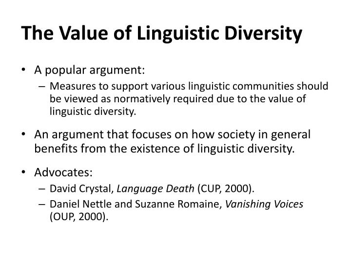 The value of linguistic diversity