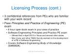 licensing process cont