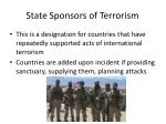 state sponsors of terrorism