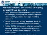 activity feedback local tribal emergency manager group questions