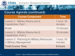 course agenda continued