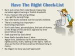 have the right check list