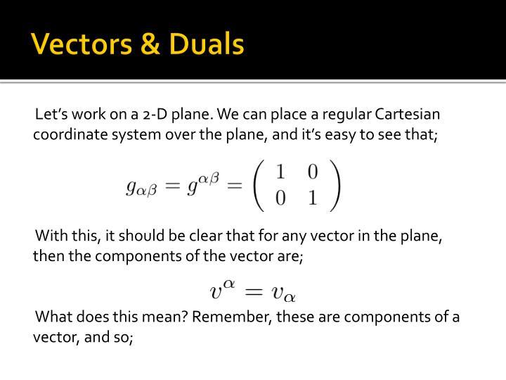 Vectors & Duals