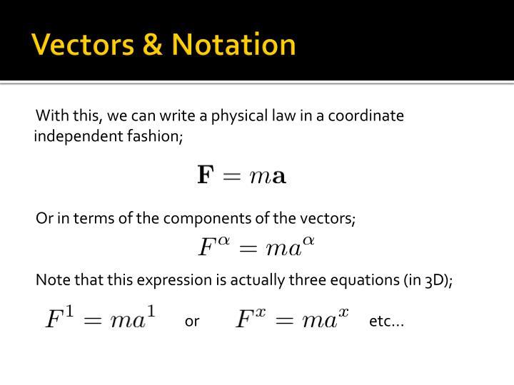 Vectors & Notation