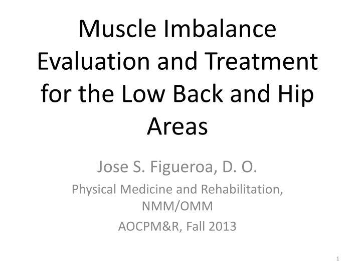 muscle imbalance evaluation and treatment for the low back and hip areas n.