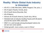 reality whole global auto industry is unionized