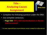 title analyzing causes assignment