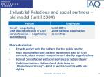 industrial relations and social partners old model until 2004