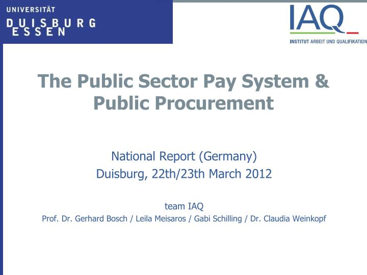 the public sector pay system public procurement n.