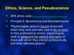 ethics science and pseudoscience