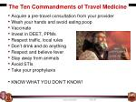 the ten commandments of travel medicine