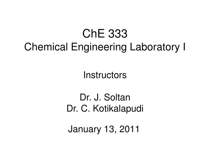 che 333 chemical engineering laboratory i n.