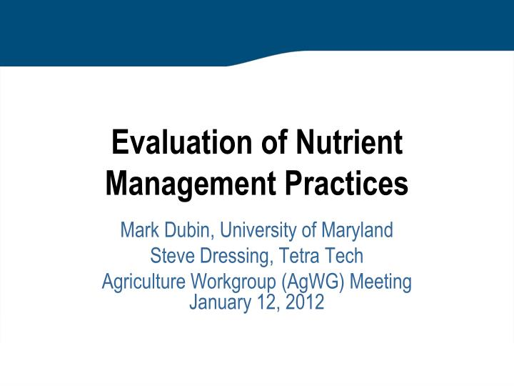 evaluation of nutrient management practices n.