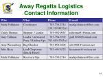 away regatta logistics contact information