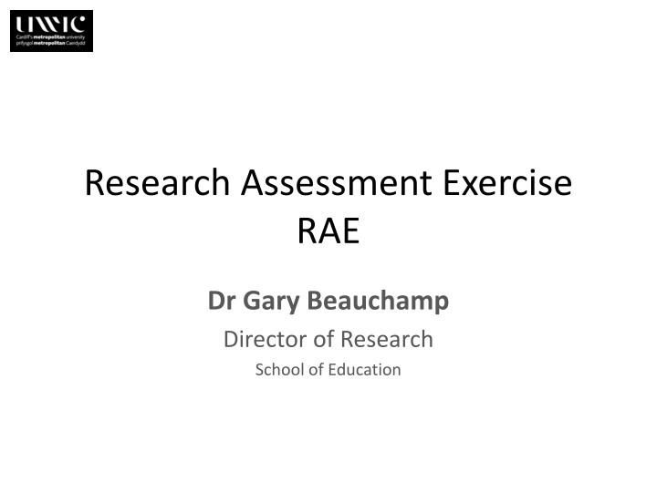 research assessment exercise rae n.