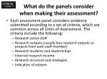 what do the panels consider when making their assessment