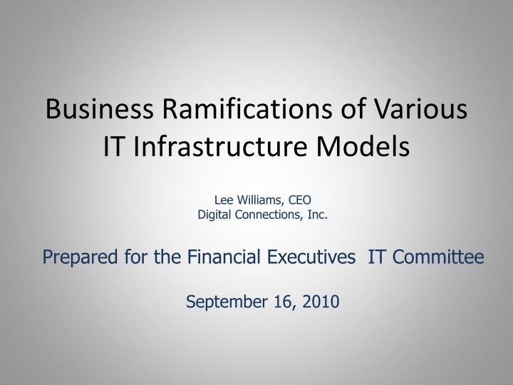 business ramifications of various it infrastructure models n.