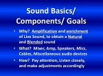 sound basics components goals