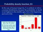 probability density function f t