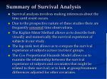 summary of survival analysis
