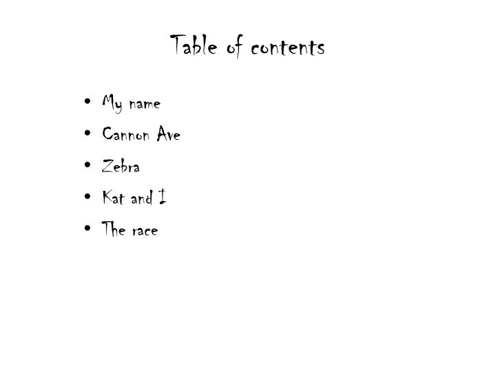 T able of contents