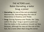 the actors cont robin starveling a tailor snug a joiner